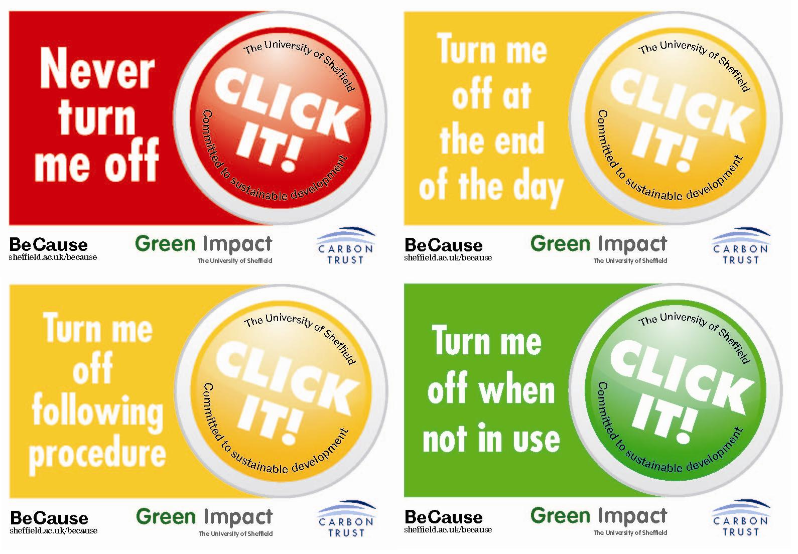 Four stickers used in the Labs Switch Off campaign