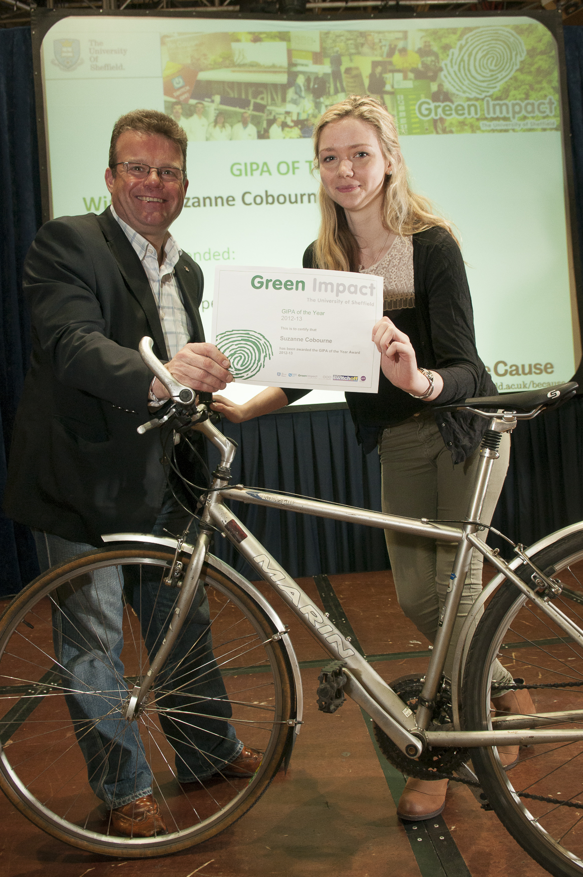 Suzanne Cobourne, GIPA of the Year 2012/13, was awarded a bike donated by Professor Tony Ryan, and a day at the annual EAUC conference